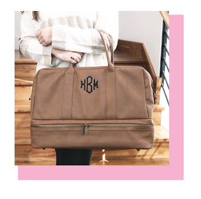 Personalized Duffel Weekender Bag with Shoe compartment from Marleylilly.com