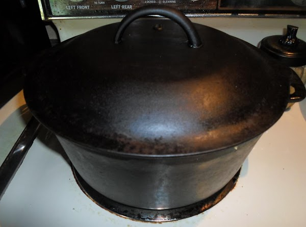Take 1 tablespoon of olive oil and pour into a cast iron Dutch oven....