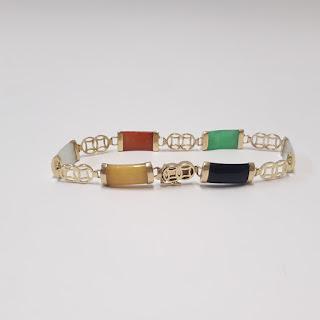 14K Gold and Stone Bracelet