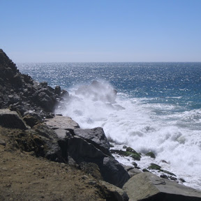 Pacific Ocean surf splashes off Point Mugu, 9/2/2012