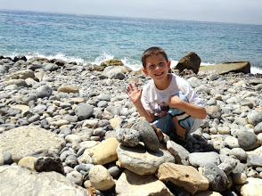 Photo: Sam and his rock pile.