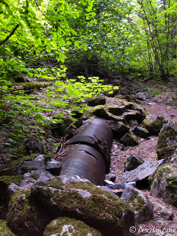 The wooden-stave penstock seem to be in great condition after 89 years!