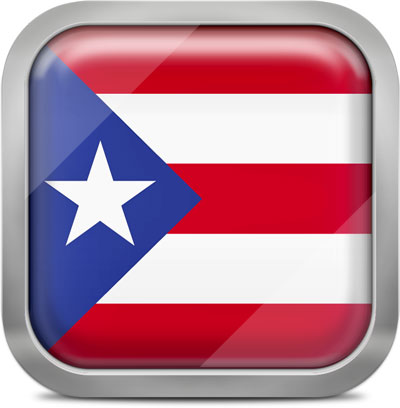 Puerto Rico square flag with metallic frame