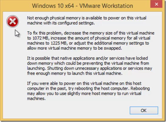 VMWare Virtual Memory Error