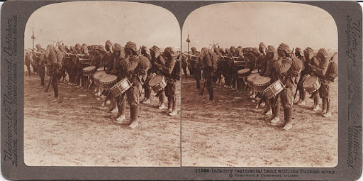 stereoscope view of turkish regimental band