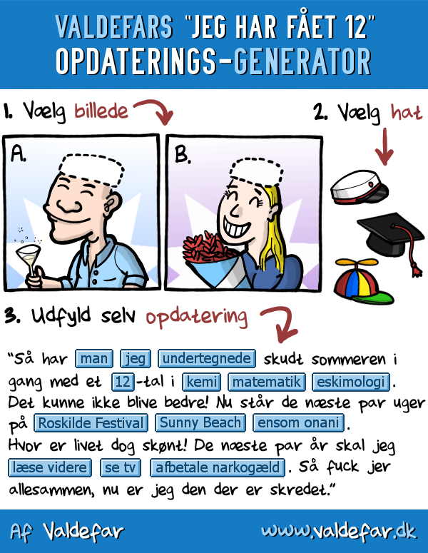 Valdefars 12-tals-facebook-opdaterings-generator