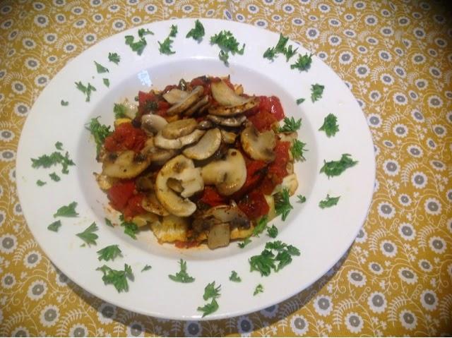mushrooms in puttanesca sauce