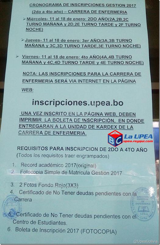 Inscripciones UPEA 2017