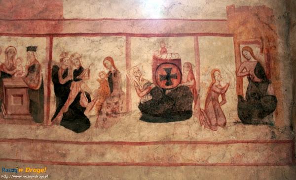 Szydłów - polichromia w kosciele wszystkich świętych - 7 radości Maryi
