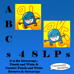 ABCs 4 SLPs: G is for Giveaways - Touch and Write & Cursive Touch and Write image