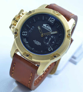 jam tangan Quiksilver chrono second date brown leather Gold grey