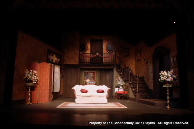 The set for LEADING LADIES - October 2011.  Property of The Schenectady Civic Players Theater Archive.