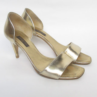 Louis Vuitton Metallic Gold Sandal Pumps