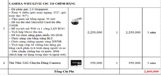 Bảng giá lắp đặt camera wifi Ezviz C8C tại Quận 12