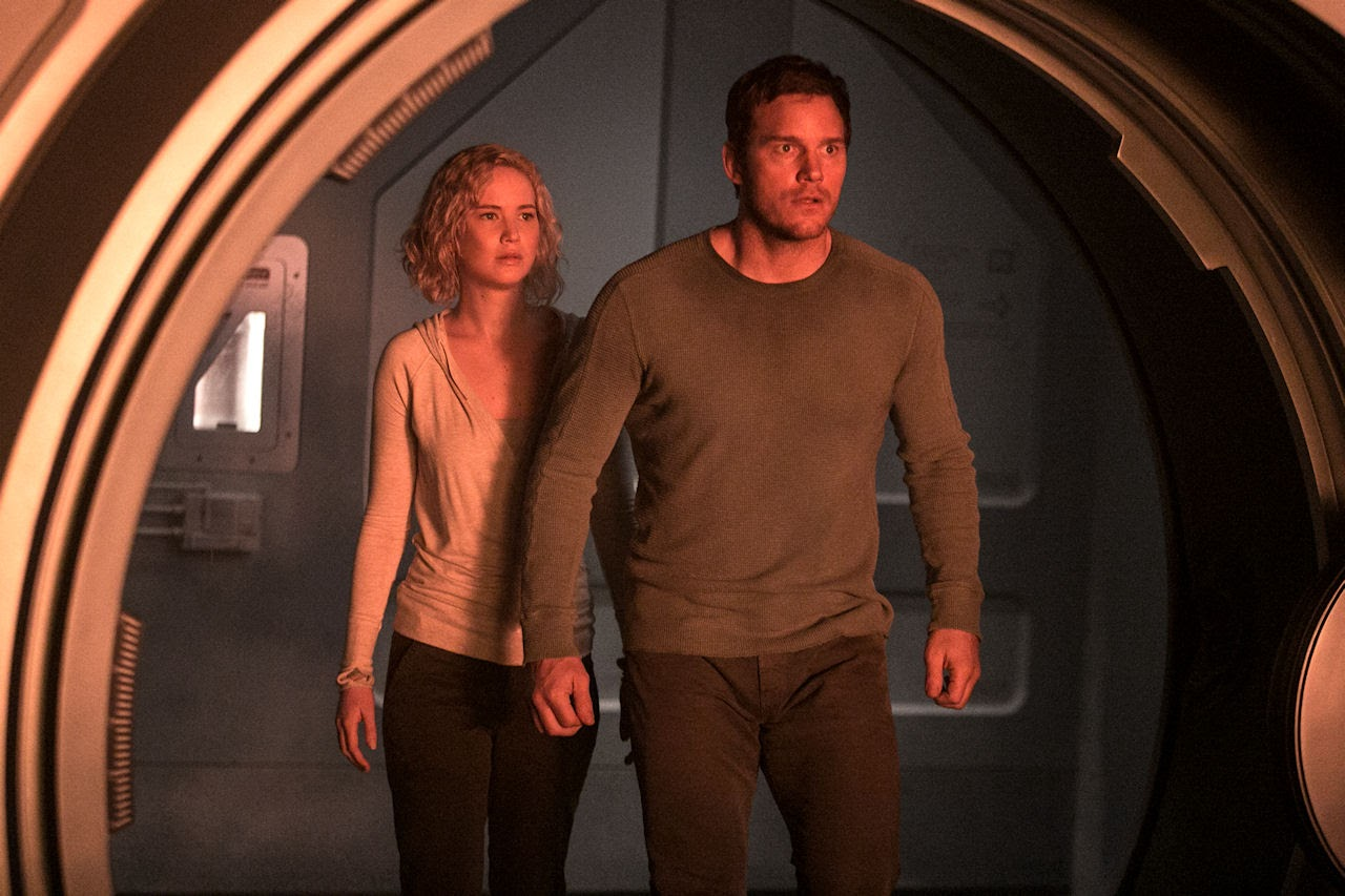 Jennifer Lawrence and Chris Pratt star in  PASSENGERS. (Photo courtesy of Columbia Pictures).