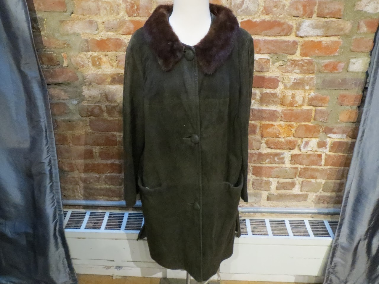 Vintage Suede Coat with Fur Trim in Forest Green