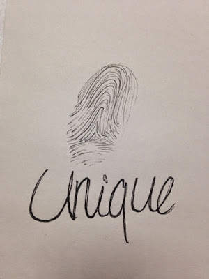 97 Hearts unique fingerprint drawing