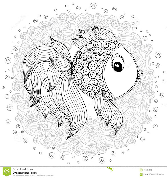 Pattern For Coloring Book Vector Cute Cartoon Fish