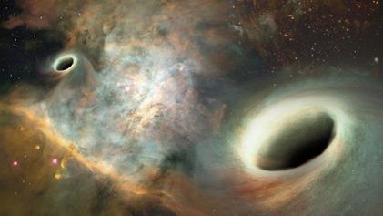 ilustração de dois buracos negros supermassivos orbitando-se um ao outro