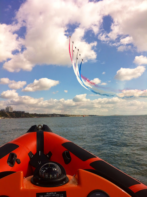 A great view of the Red Arrows from the ILB - 31 August 2014.  Photo credit: Poole RNLI