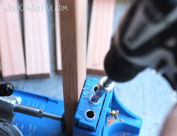 Drilling pocket holes in shims