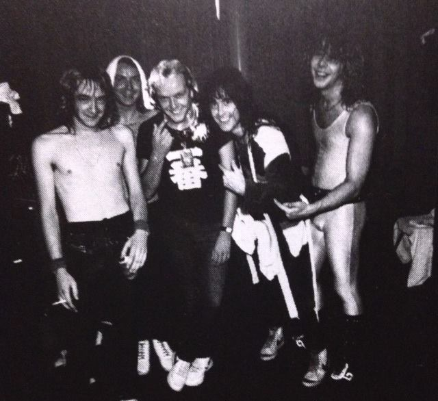 11 Aug1982 Ross Halfin's birthday -Adrian, Dave, Ross Halfin, Steve and Clive.png