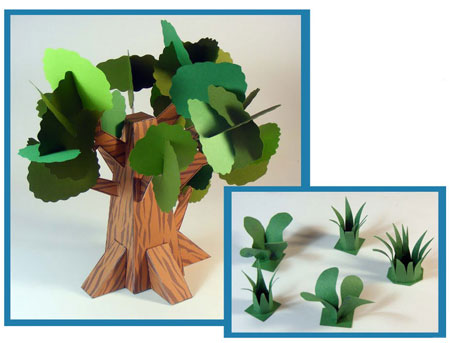 Dino Mini World Papercraft Trees and Grass