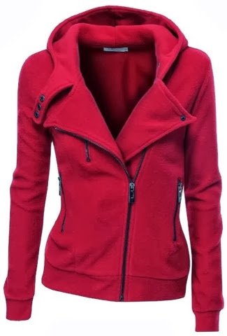 Amazing red colour warm jacket for fall and winter