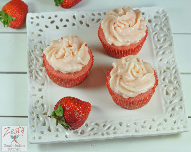 Strawberry Surprise Cupcakes with Strawberry Cream cheese frosting ...