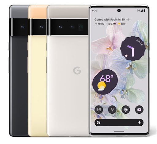 An image of the front and back sides of a Google Pixel 6 phone.
