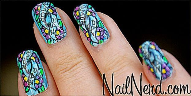 Nail Nerd nail art for nerds » Peace and Love Flash Tattoo Nails