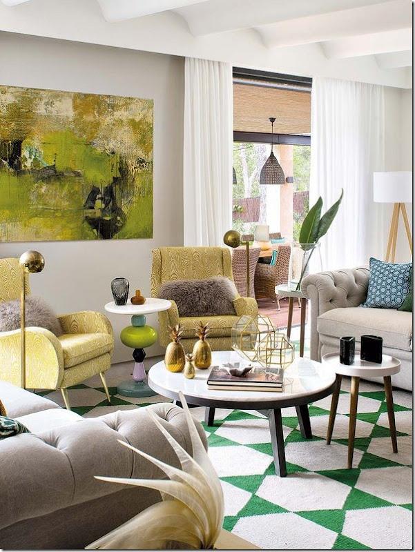 Soggiorno in verde e giallo e stile retro-vintage-nordico