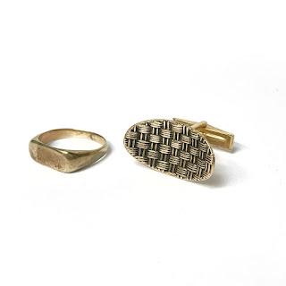 14K Gold Damaged Ring & Single Cufflink