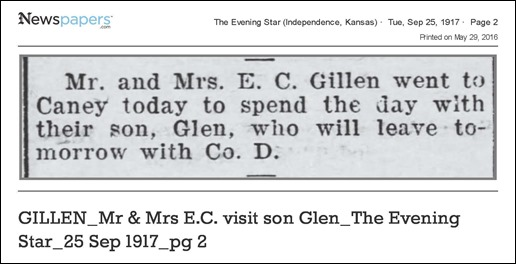 GILLEN_Mr & Mrs E.C. visit son Glen_The Evening Star_25 Sep 1917_pg 2 - on Newspapers