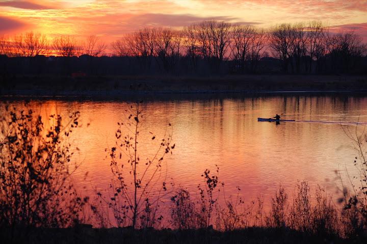 夕陽的湖畔