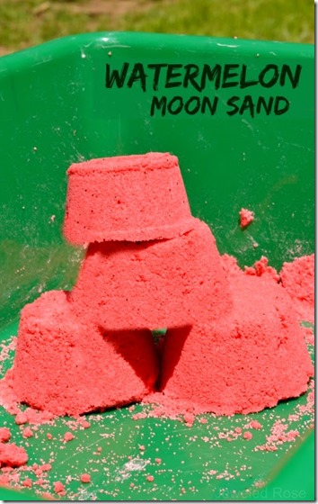 EASY Watermellon Moon Sand Recipe - kids are going to love this stuff. It smells amazing and is loads of fun to play with for toddler, preschool, kindergarten and beyond!