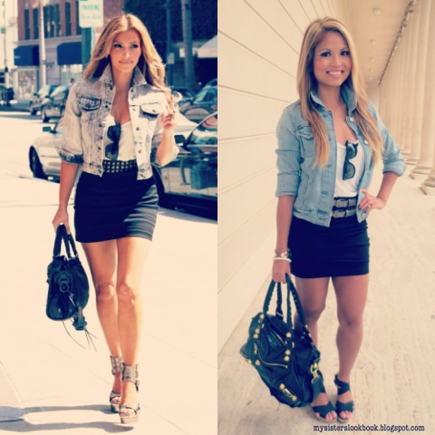 My Sisters Lookbook: Lookbook: Kim Kardashian's Denim & Mini Skirt ...