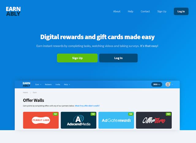 Site de recompensas digitais e vales-presente simplificados