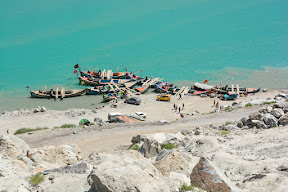 Boats on Attabad lake, Hunza