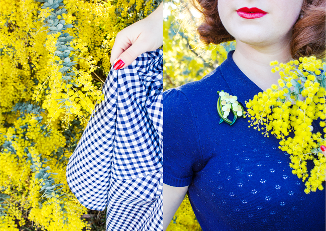 Golden wattle with navy vintage inspired styling | Lavender & Twill