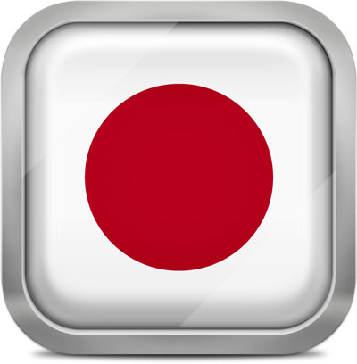 Japan square flag with metallic frame