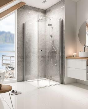 Porte de douche pivotante-pliante, 56 à 120 cm et 25 à 140 cm, à combiner avec une paroi latérale