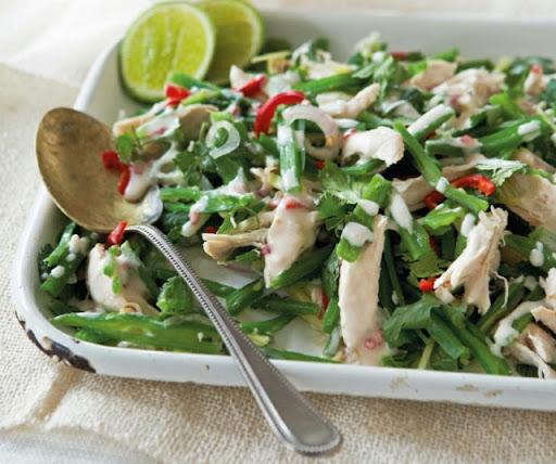 Thai shredded chicken & runner-bean salad