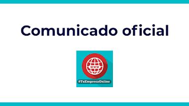 Comunicado oficial Tu Empresa Online