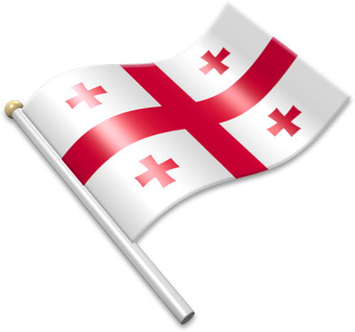 The Georgian flag on a flagpole clipart image