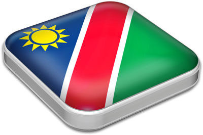 Flag of Namibia with metallic square frame