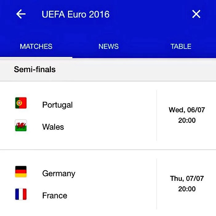EURO 2016 Semi final fixtures, club mates to     - jizuluvs sports