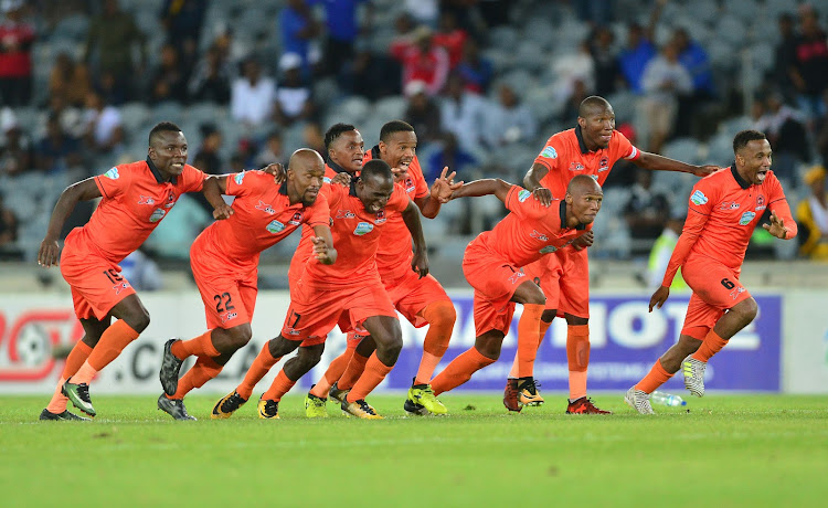 Polokwane City players celebrates a victory during the 2017 Telkom Knockout football match between Orlando Pirates and Polokwane City at Orlando Stadium, Johannesburg on 04 November 2017.