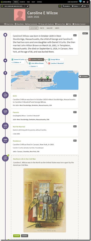 Example Story View from New Ancestry member tree