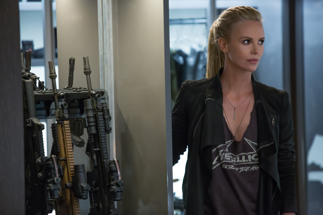 Charlize Theron in THE FATE OF THE FURIOUS. (Photo by Matt Kennedy / courtesy of Universal Pictures).